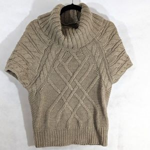 Light Brown Chunky Wool Cable Knit Sweater SS Cowl
